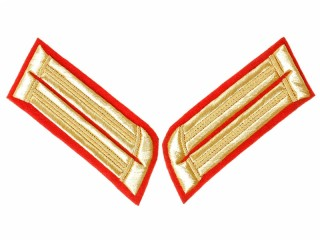 Officers collar patches Gold on Red, 1st regiments in infantry divisions, Russia, Replica.