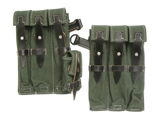 Pair MP38/40 Magazine Pouches (Green), Wehrmacht/WaffenSS (Germany), Replica