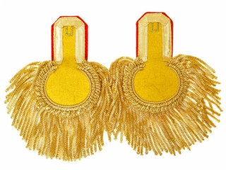 Officers Eupalets 1st grenadiers division, yellow, gold, red pipped. Replica