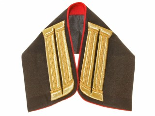 Embroidered collar officer army artillery, cossack artillery, horse artillery black velvet/gold Russia, Replica
