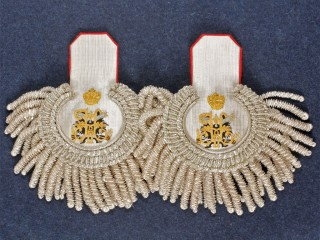 Rear-Admiral Eupalets Imperial Russia Silver with red underlay Russian Guards Counter-Admiral H.I.M. Retineu epaulettes
