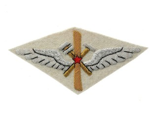 Red Army Air Force uniform shoulder sleeve insignia patch model 1920-1930 (technical staff) white cloth, USSR WW2, replica