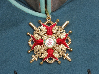 Cross of Order of St. Stanislaus 2nd Class with swords cross on neck, Russia WWI
