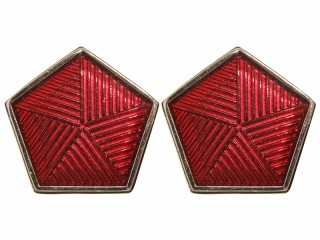 GUPO NKVD Fire Guards collar rank insignia badges, red enamel, USSR WW2
