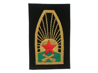 Red Army Sleeve Insignia, RKKA artillery, 1922 gold type, RSFSR WW2, Russia, Replica