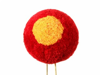 Red with yellow pom pom for shako hat m1811, 3rd Battalion of field infantry regiment, Imperial Russia 1812