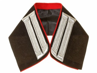 Embroidered collar officer army air force pilots, engineers, armored cars black velvet/silver. Russia, Replica
