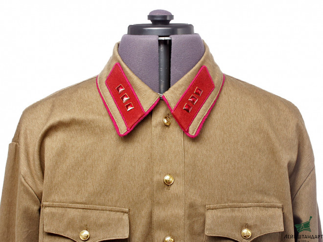 Изображение Summer field Gymnastyorka shirt and galife pants NKVD military uniform m1938 with rank insignia of Senior Lieutenant of State Security, USSR WW2, copy - Увеличенное изображение